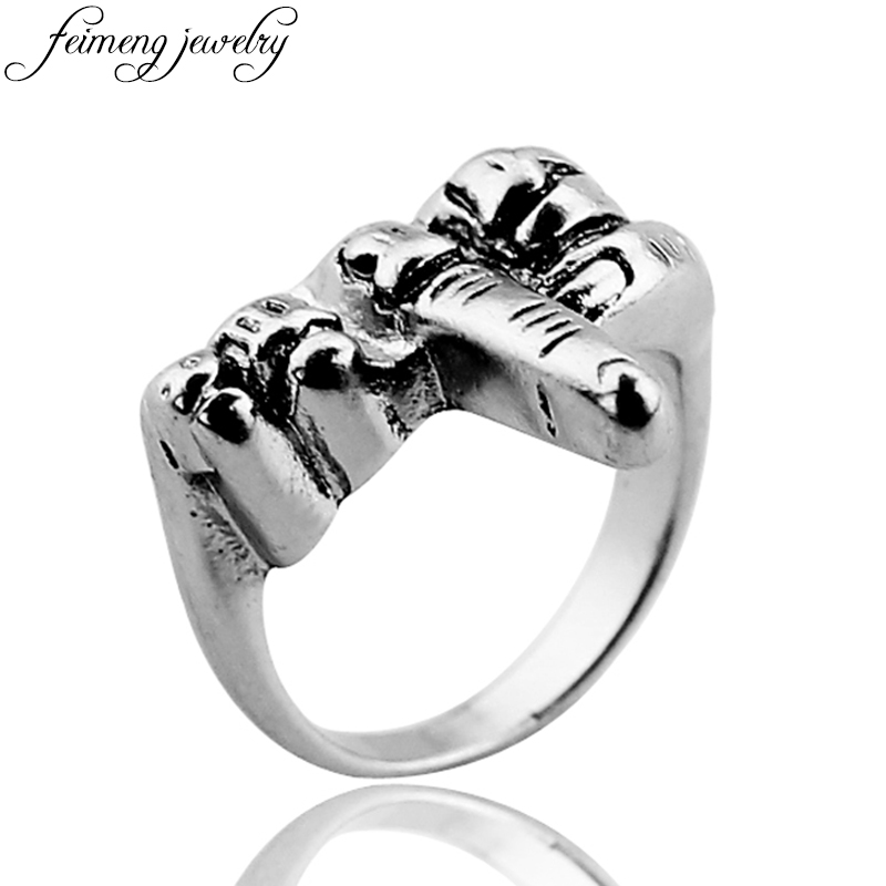 feimeng jewelry Hip Hop Gothic Punk Middle Finger Ring Retro Silvery Unique Style Biker Ring For