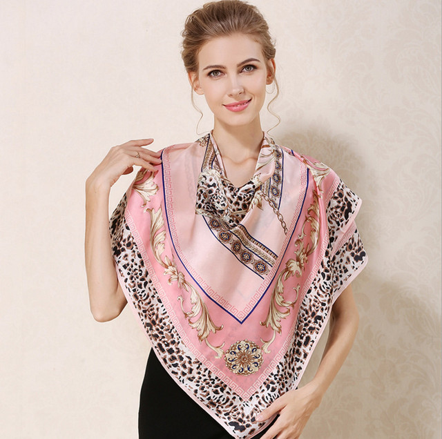 [Ode To Joy]Luxury 100% pure Silk square women Scarf Shawl digital animal Print Vintage lady's Scarves high quality Silk Scarf
