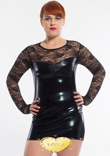New Womens Wet Look Leather Sheer Lace Plus Size Clubwear Sexy Dress