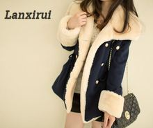 Lanxirui 2018 Keep Warm Winter Warm Double -Breasted Wool Blend Jacket Fashion Women Coat Aug 0807 epaulet design single breasted wool blend jacket
