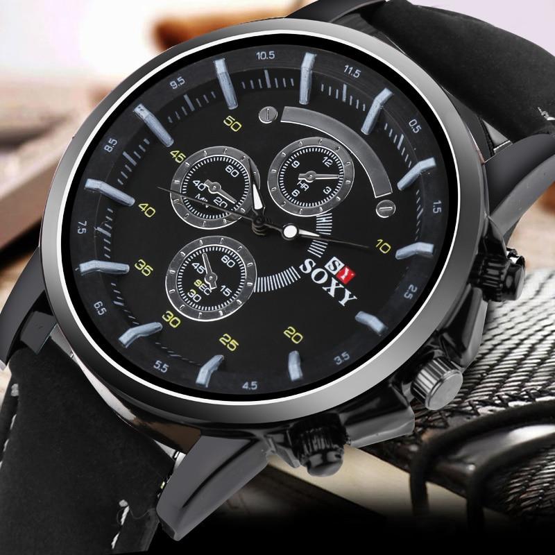 Leather Watch Top Luxury Brand Men Luminous Watches Analog Military Sports SOXY Watch Quartz Male Wristwatches saat Relogio