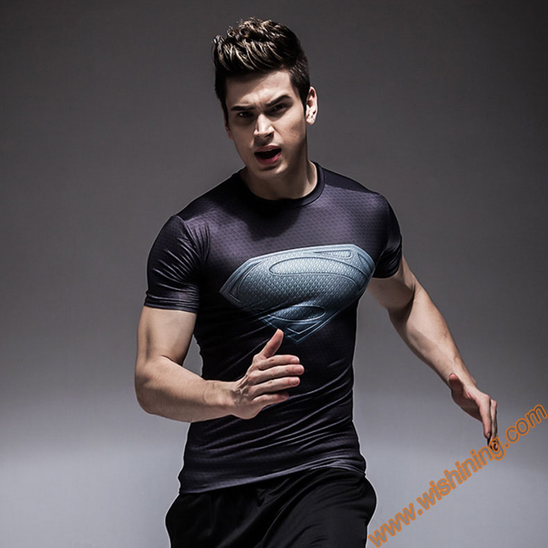 Compression Shirt  Superman T-shirts Mavel  Superhero fitness  t shirt black  bodybuilding clothing for Mens