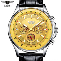 Luxury LIGE Brand Watches Men Quartz Watch Multifunction Fashion Leather Strap Waterproof Wristwatches Male Clock Reloj
