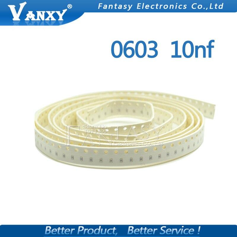 100pcs 10NF X7R Error 10% 50V 0603 103 SMD Thick Film Chip Multilayer Ceramic Capacitor