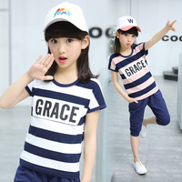 Girls Summer Sets Striped T Shirt Pants 2 Piece Set Girl Sport Clothing Pure Cotton Girl