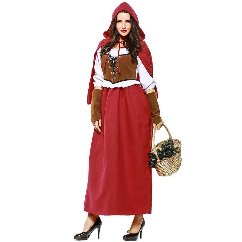 7232a01704e ... S-XXL Новая мода для взрослых Для женщин Хэллоуин Косплэй Фантазия  платье Дамы Красная Шапочка ...