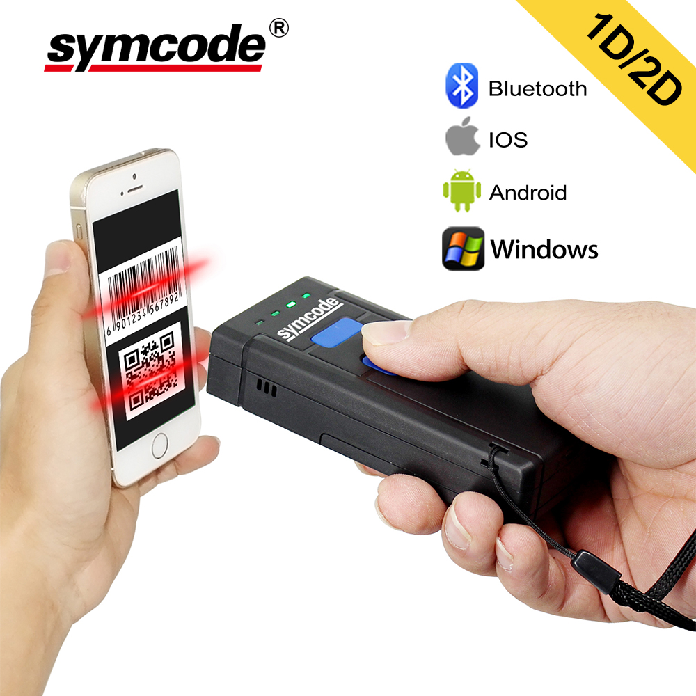 Symcode 1D 2D Bluetooth Barcode Scanner 1D 2D USB Bluetooth 2.4GHz Wireless Barcode Reader Wireless Transfer Distance 100 Meters