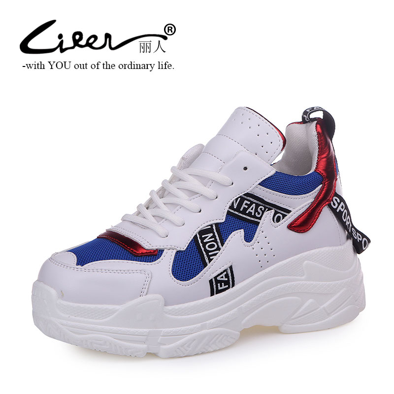 Liren Spring Hit Colors Platform Shoes for Women Fashion Shoes Breathable Mesh Casual Sneakers Leisure White