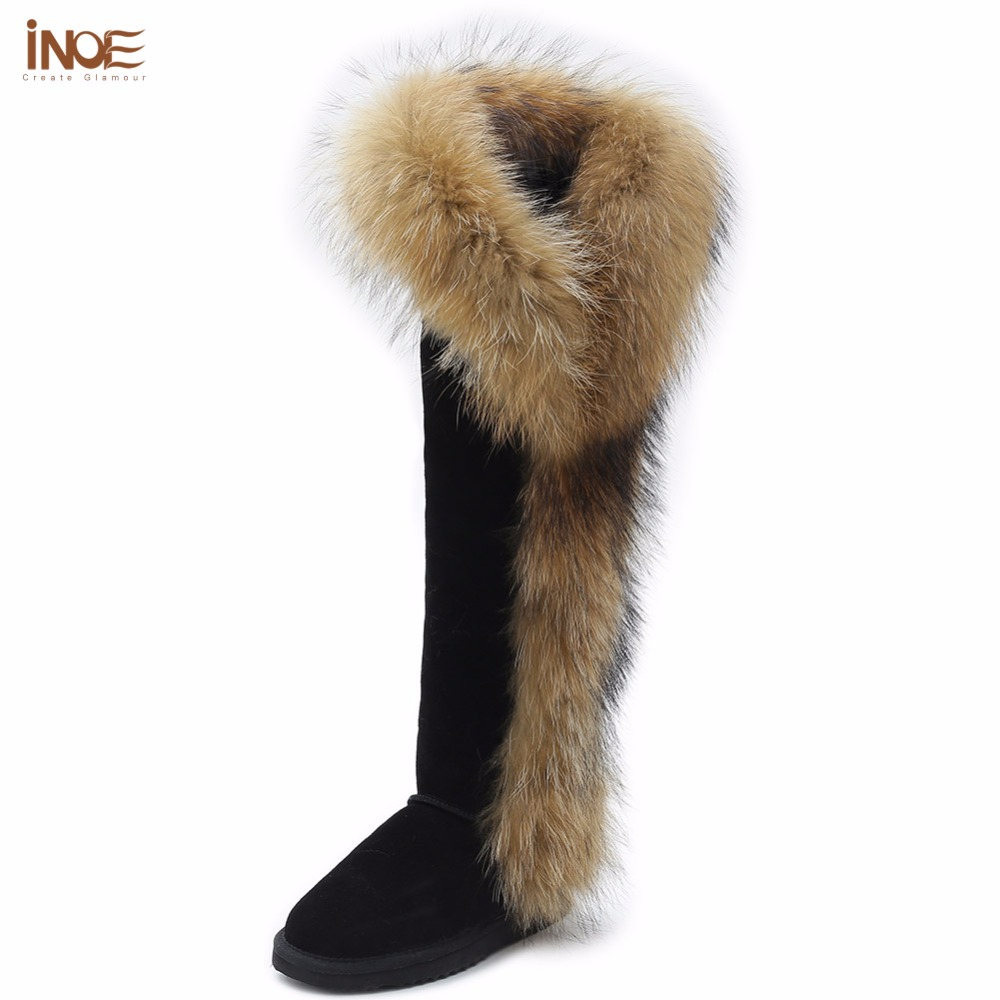 INOE Fashion real fox fur thigh suede winter snow boots for women real sheepskin leather fur lined woman winter shoes long botas