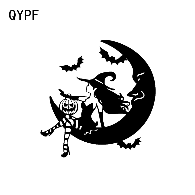 QYPF 13.3*13.6 Interesting Witch Bat Decor Vinyl Car Sticker Silhouette Bumper Window Accessories Silhouette C16-2406