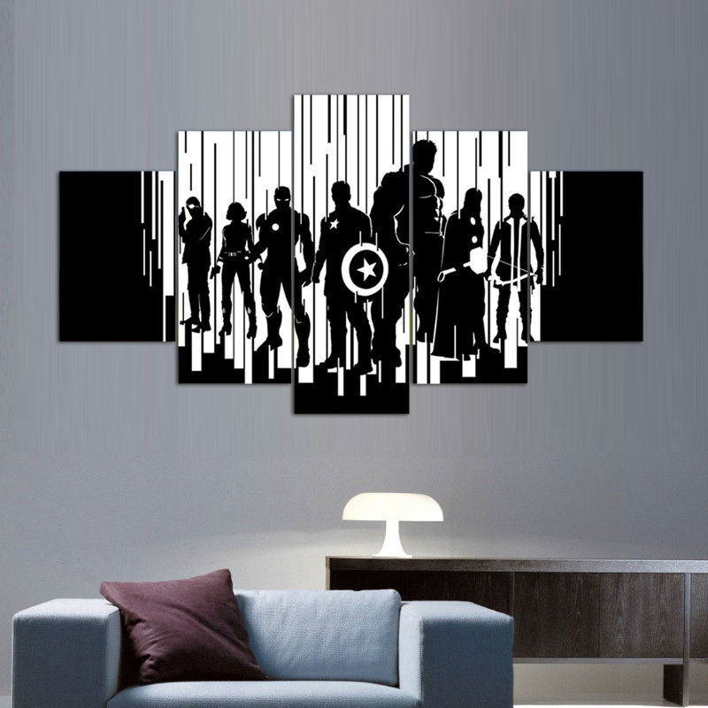 5 Panels Black White Avengers Canvas Painting Wall Art Rhaliexpress: Black And White Paintings For Living Room At Home Improvement Advice