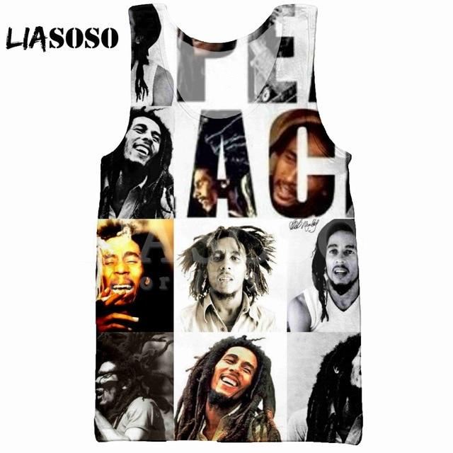 9c0613e53911 LIASOSO 2018 Summer Casual Fashion 3D Print Men s Tank Top Vest Design  Reggae Singe BOB Marley sleeveless Hip Hop Tank Top X0990