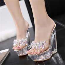 FeiYiTu High Quality Women Slippers Summer Transparent Crystal Model Catwalk Wedding Shoes High-heeled 14cm Wedges shoes