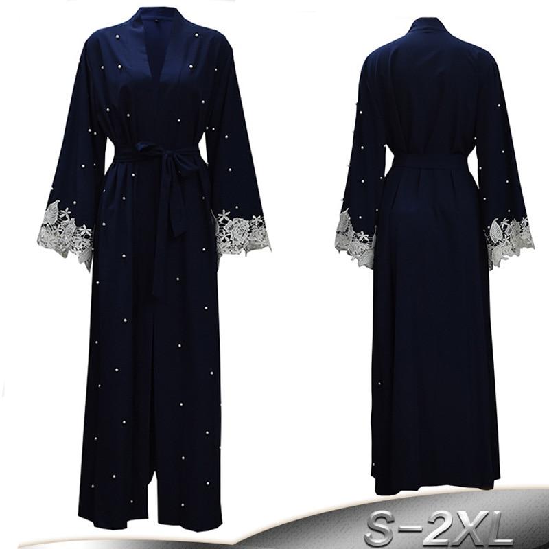 Plus Size Robe Malaysia Abaya Dubai Kaftan Women Beading Pearl Lace Kimono Cardigan Muslim Hijab Dress Turkish Islamic Clothing
