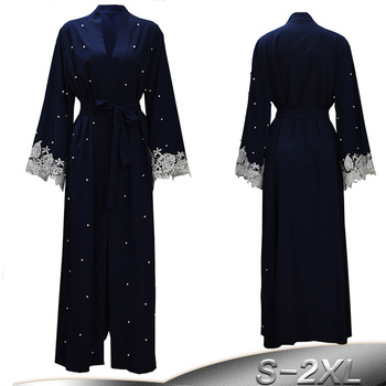 Plus Size Robe Malaysia Abaya Dubai Kaftan Women Beading Pearl Lace Kimono Cardigan Muslim Hijab Dress Turkish Islamic Clothing pearl beading bell sleeve hijab long dress