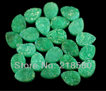 H-DCB33 25pcs Pear Shape Beads Green Quartz Teardrop Drusy Druzy Cabochon Beads 12mmx16mm