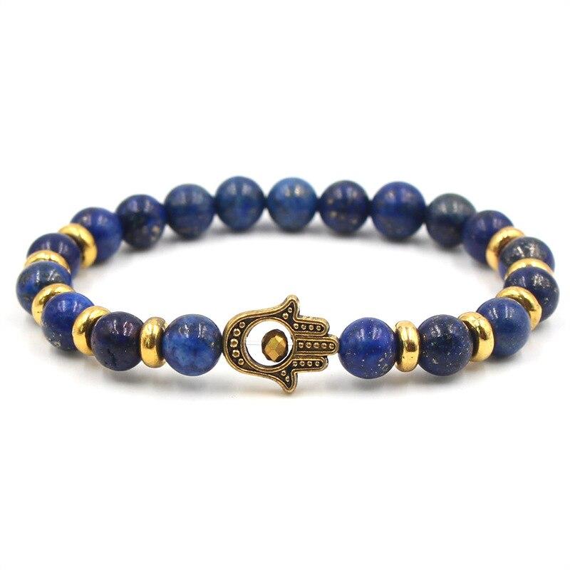 New Fashion Woman Bracelets 2019 Lapis Lazuli Gold Lion Head Natural Stone Bracelets Women Men Jewelry Accessories Dropshipping in Charm Bracelets from Jewelry Accessories