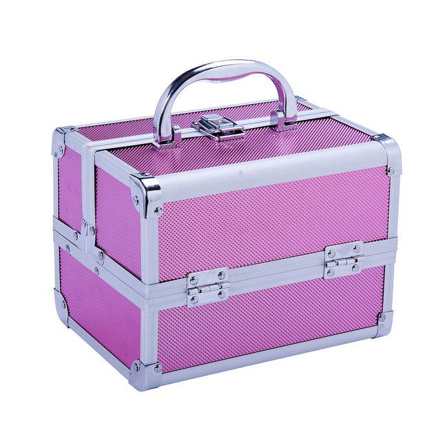 583f73d29 HOMCOM Maletin Maquillaje Profesional 15x15x20cm 2 cajones 1 Espejo Maleta  Peluqueria Estetica 2 Colores (Rosado