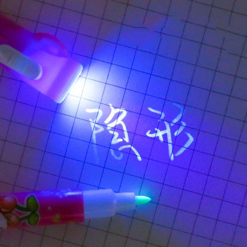 Magic 2 In 1 UV LED Light Ultra Violet Flashlight Marker Drawing Penlight Highlighter Invisible Ink Pen School Office Stationery