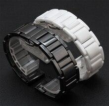 14mm 16mm 18mm 20mm Negro Correas de Reloj para el reloj de diamantes relojes de moda de alta calidad De Cerámica Blanca accesorios para hombre de la virgen