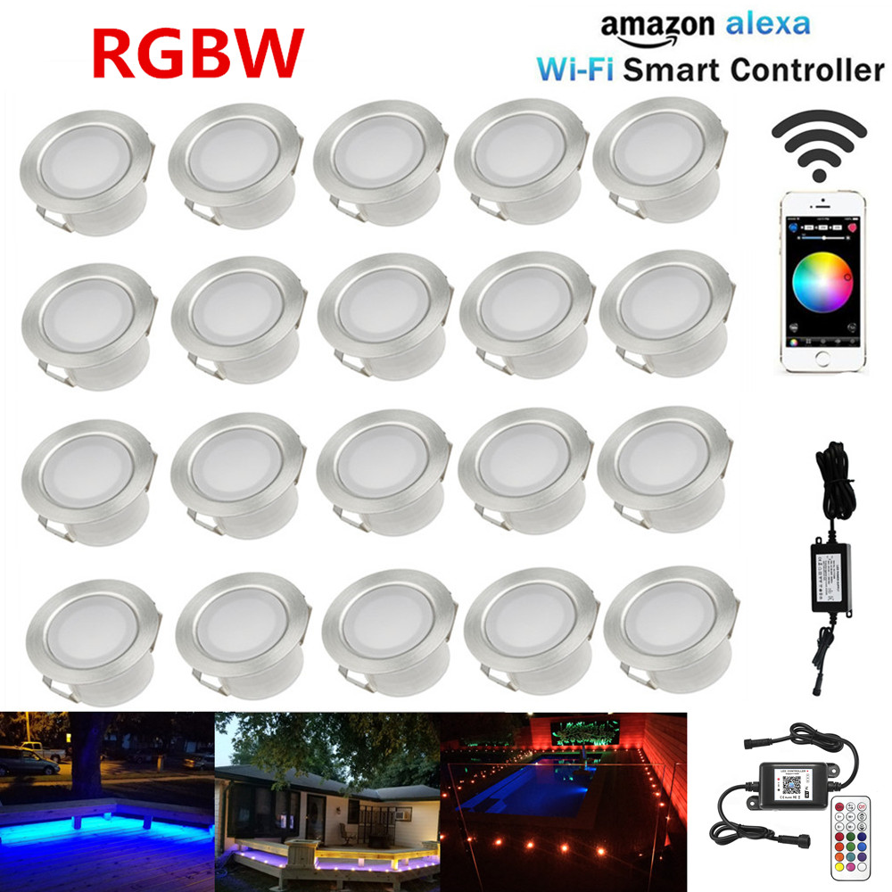 20X WIFI Controller Timer 45mm 12V RGB RGBW Yard Terrace LED Deck Stair Soffit Step Lights for Alexa Googlehome IFTTT Phone App