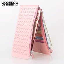 New style Card Holder Women Wallets Long Weave zipper Hasp Sheepskin mini Ultrathin card sleeve Card