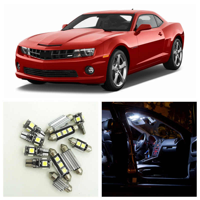 8pcs White LED Light Bulbs Interior Package Kit For Chevy Chevrolet Camaro 2010-2015 Map Dome License Plate Lamp Chevy-B-10