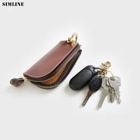 100% Genuine Leather Key Wallet For Men Vintage Handmade Key Cover Holder Bag Case Housekeeper Keys Organizer Pouch High Quality