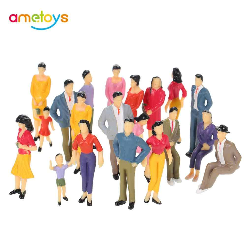 20 قطعة مقياس 1:25 رسمت نموذج الناس اللعب قطار بناء تخطيط ميكس رسمت نموذج الناس قطار الشارع الركاب أرقام اللعب