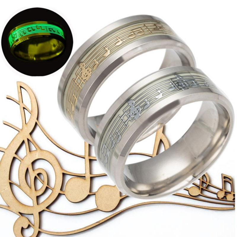 8mm Stainless Steel Musical Note and ECG Pattern Rings Music Lovers Jewelry