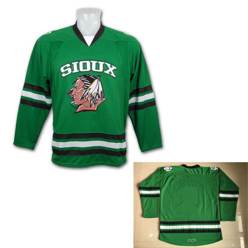 SexeMara Hot Sale Cheap limit Green Hockey North Dakota Fighting Sioux  Hockey Jersey Double Stitched Movie 5ae6fe55c