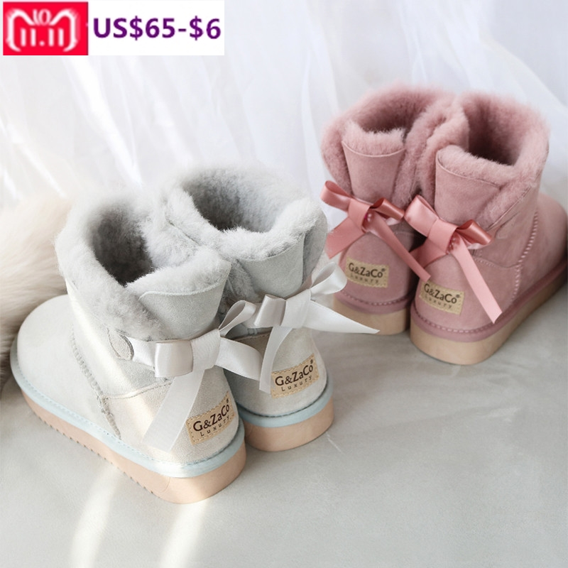 G&Zaco Luxury Short Sheepskin Boots Sheep Fur Snow Boots Natural Wool Flat Back Sweet Bow Ankle Boots Student Winter Women Boots round flat bottomed sweet bowknot short boots