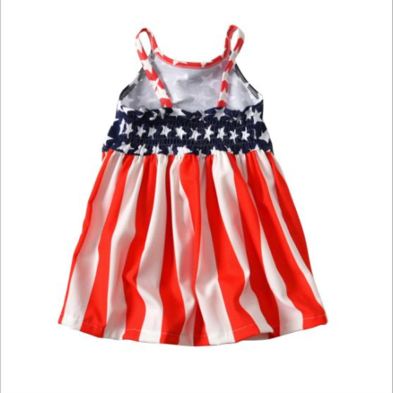 Newest Girl summer sling pleated dress Summer light star striped backless Sleeveless dress Gift for 1 4 years old girl baby in Dresses from Mother Kids