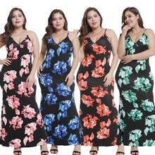 цены на S-2XL women new sexy sleeveless strap dress summer casual leisure floral print long dress night evening party maxi dress в интернет-магазинах