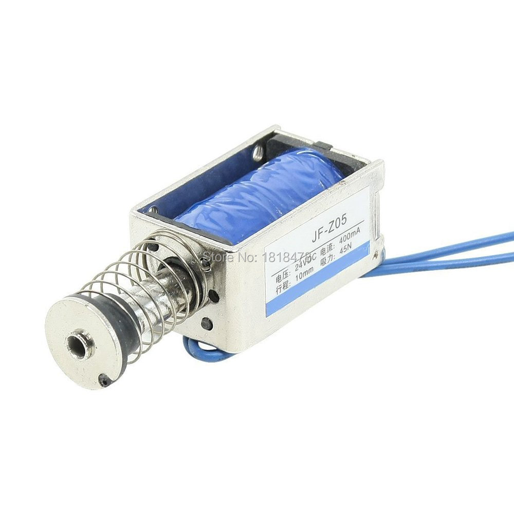 JF-Z05  DC 24V 400mA Push Pull Type Open Frame Solenoid Electromagnet 10mm 45N 9.9LB 3mm 1kg wired open frame push pull type solenoid electromagnet dc 24v 0 68a
