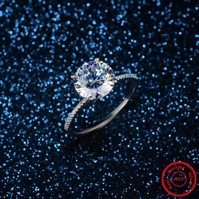 2019 Klasik Mewah Nyata Solid 925 Sterling Perak Ring 3Ct 10 Hati Panah Zircon Perhiasan Pernikahan Cincin Pertunangan untuk Wanita