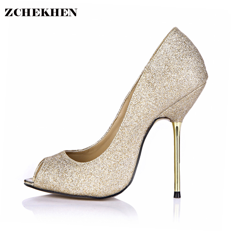 Gold bling fashion design women's high heel pumps summer Party Wedding stiletto shoes 12.4cm thin heels 3845-6 silver bling fashion design women s high heel pumps summer see through party wedding stiletto shoes heels