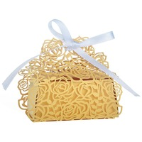 Hot 50Pcs Rose Laser Cut Candy Boxes With Gold Ribbon Wedding Party Favor Creative Favor Bags