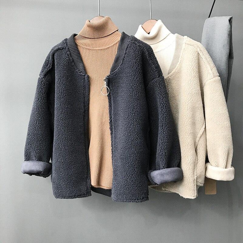 Femmes Tranchée 2017 Étudiant Kaki Nouvelle Lâche Outwear Fourrure Daim En D'agneau Filles Court Manteau 9HeWEYbID2