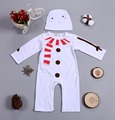 2018 Baby Newborn <font><b>romper</b></font> Cartoon Snowman White Long Sleeve Coverall + Hat Boy Girl Costume