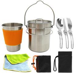304 ze stali nierdzewnej wiszące Pan Pot + kubek + nóż widelec SpoonKettle na świeżym powietrzu Camping piknik naczynia zagotować wodę zestaw do gotowania