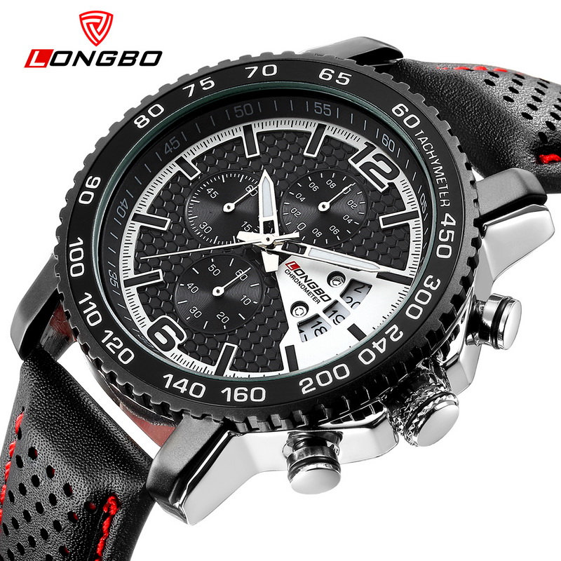 LONGBO Chronograph Sports Military Watch Men Leather Army Calendar Quartz Watches Men Waterproof Wrist Mens Watches Relogio weide new men quartz casual watch army military sports watch waterproof back light men watches alarm clock multiple time zone