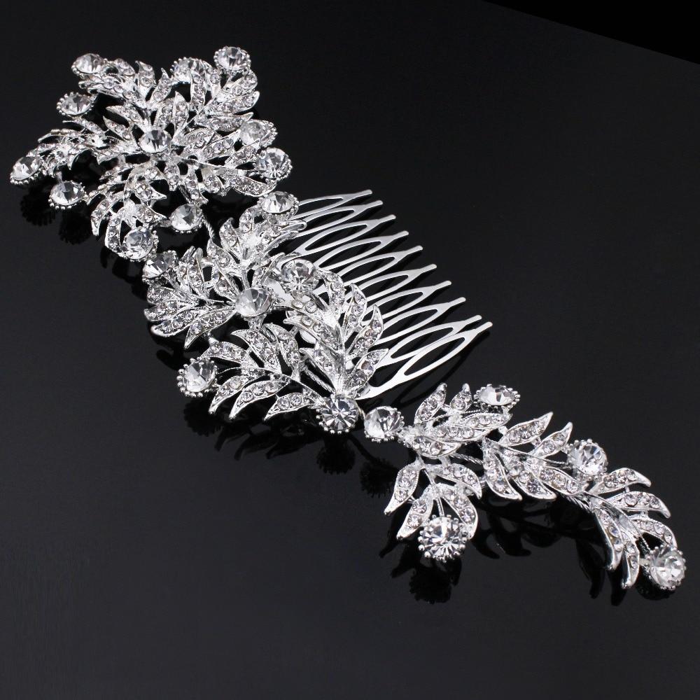 TREAZY Luxury Crystal Bridal Hair Combs for Women Large Leaf Shape Hairpins Rhinestone Wedding font b