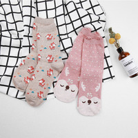[PEONFLY] 2017 New creative Cute Sika deer Fawn Animals Print Low Cut Ankle Socks For Women Girl Autumn Harajuku SockS 2 pair