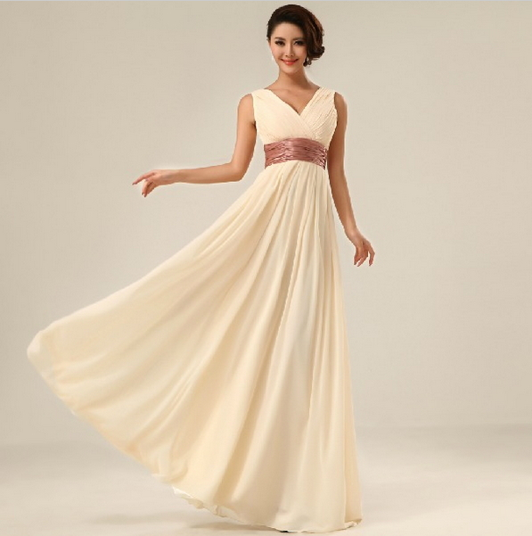 Free shipping new 2015 double shoulder v neck simple solid long evening dress chiffon evening party