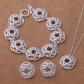 WT216 Hot Sale Chinese Weaving Style Jewelry Sets Necklace Earrings Bracelet 925 Sterling Silver Ethic Fashion Women Jewelry