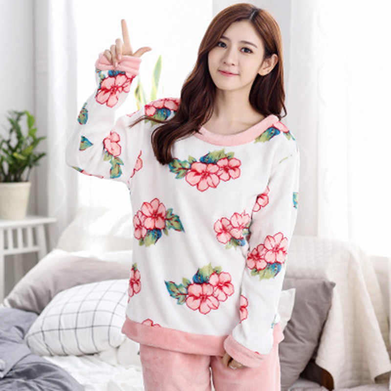 b23e98666e Detail Feedback Questions about Winter Female Pajama Polyester Full Trousers  Lady Two Piece Pajama Set Print Home Clothing Women s Flannel Pajamas Set  on ...