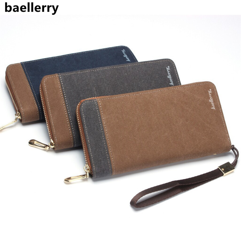 Baellerry Brand Men's Wallet Retro Canvas Clutch Bag Fashion Men Wallets Long Zipper Mobile Bag Male Purse Carteira Masculina baellerry small mens wallets vintage dull polish short dollar price male cards purse mini leather men wallet carteira masculina