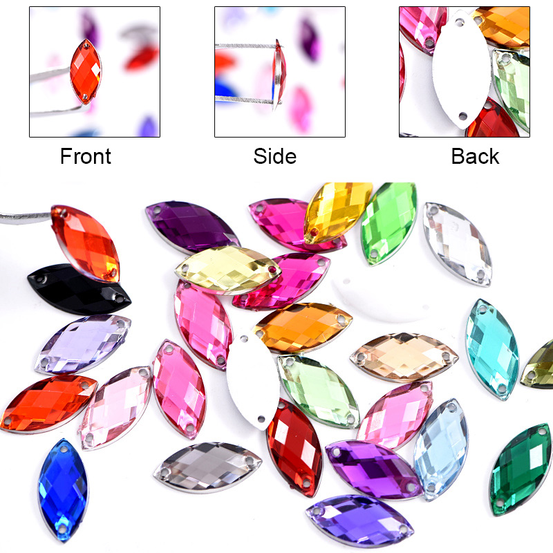 2 Sizes Horse Eye Acrylic Sew On Rhinestones Flatback Colorful Acrylic Sewing Rhinestones Loose Stones For Women Dress B0656