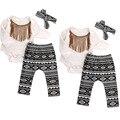 Roupas girsl miúdos roupa do bebê set romper + calça + headwear 3 pcs conjunto Infantil bebe fille menina roupas conjuntos criança pano